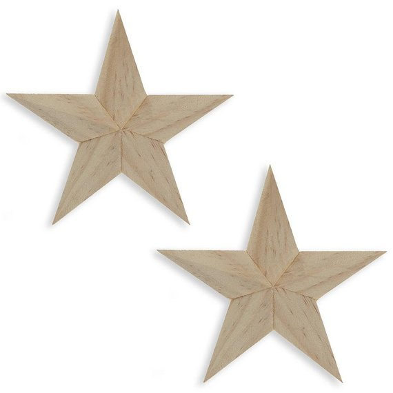 Set Of 2 Blank Unfinished Wooden 3d Star Ornaments 4 Inches Star