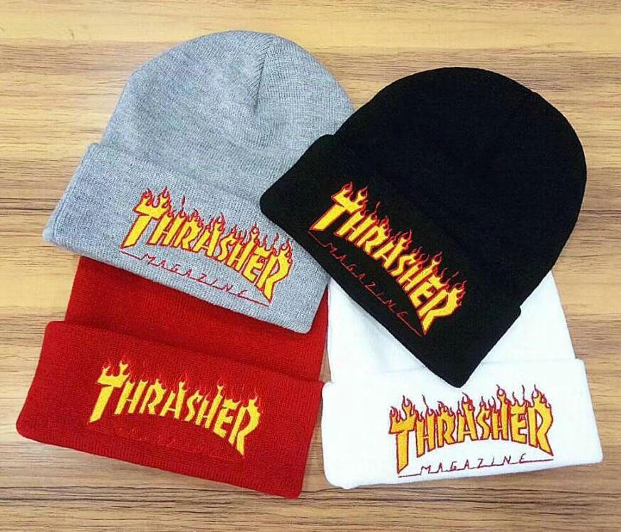 938d0ad3f8a Embroidered Beanie Flame Thrasher Knitting Hat Thick Warm Earmuffs Ski Cap