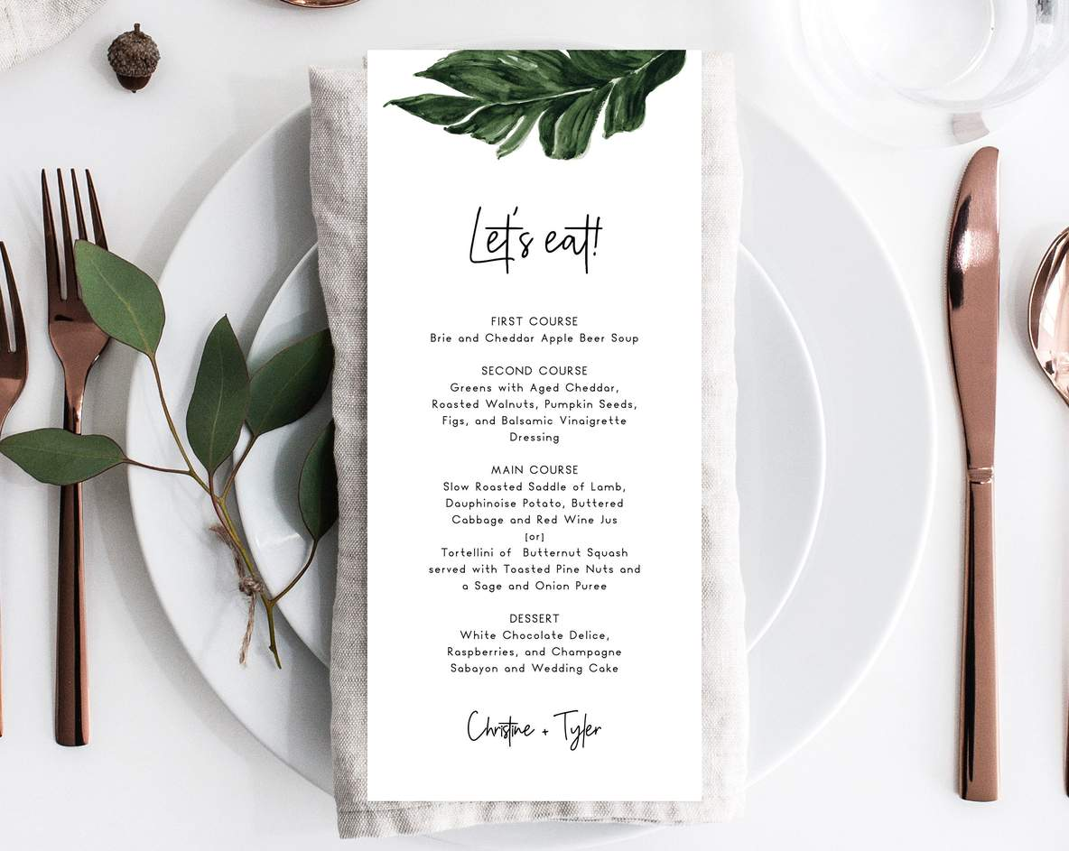Printable Menu Template Tropical green palm leaf Instant Download DIY You print Editable menu