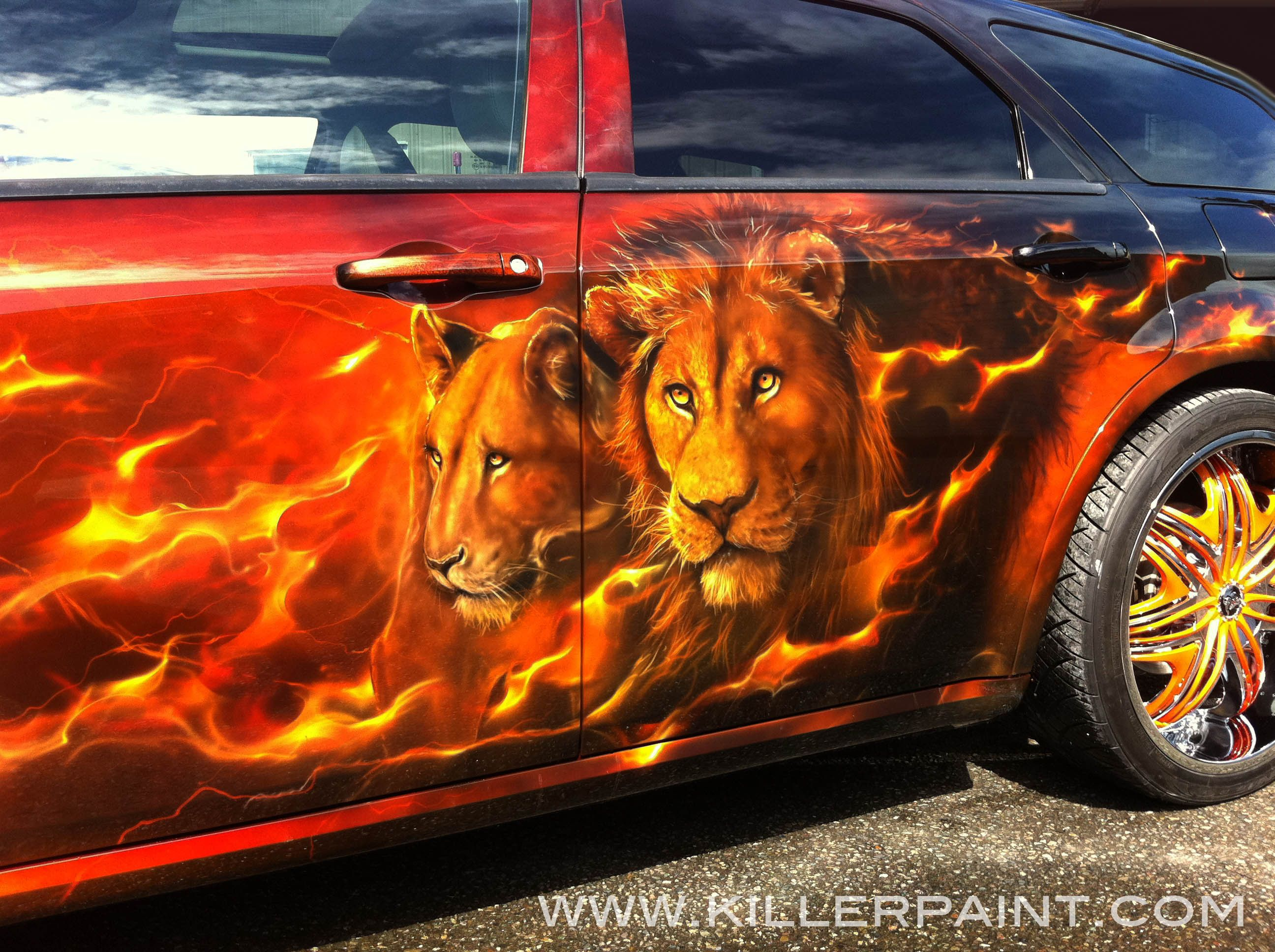 Dodge Magnum Cats Roar Auctioned Off With Of The - Custom vinyl decals for rc carsimages of cars painted with flames true fire flames on rc car