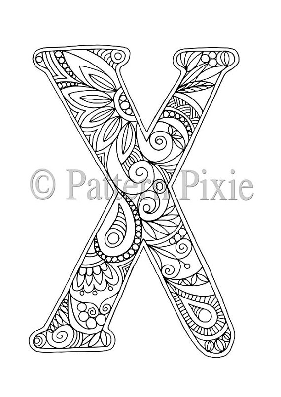 "Adult Colouring Page Alphabet Letter ""X"" 