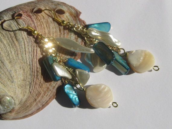Mermaid earrings aqua and white mother of by SunshineDaydreamz, $12.00
