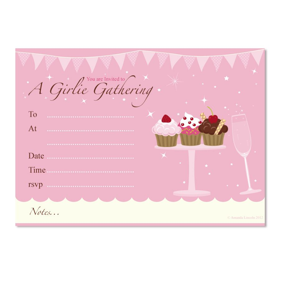 Digital Printable, Girlie Cupcake generic Party Invitation £2.25 ...
