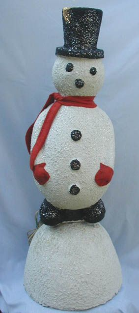 Circa 1950's Store Display Electric Snowman. Plug It In and He Rocks Back and Forth on His Snow Mound.