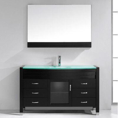 """Virtu Ava 55"""" Single Bathroom Vanity Set with Mirror"""