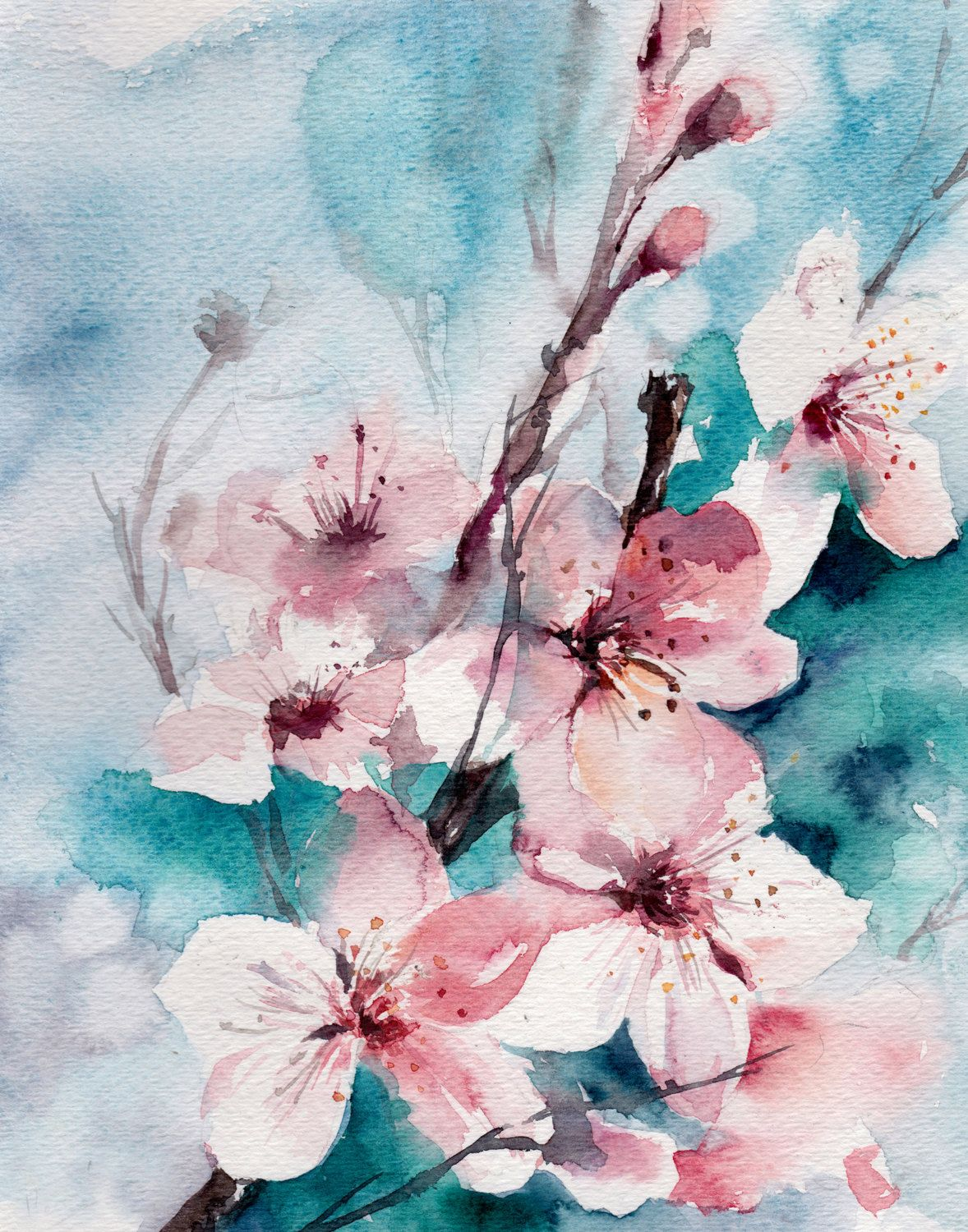 Almond Blossoms Watercolor Painting Art Print Pink Turquoise