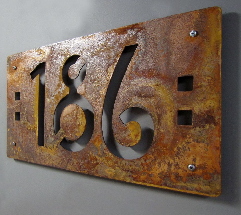 Custom Mission Style House Numbers In Rusted Steel House Numbers Metal House Numbers Mission Style