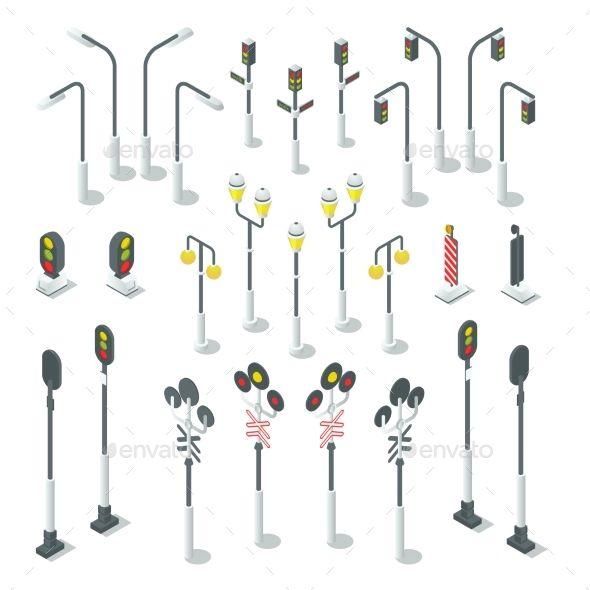 isometric traffic light  street lamps