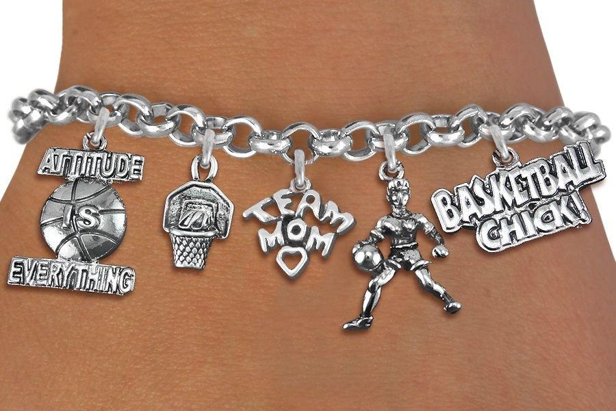 Basketball Mom Five Charm Bracelet - Silver Chain Bracelet w Silver Charms