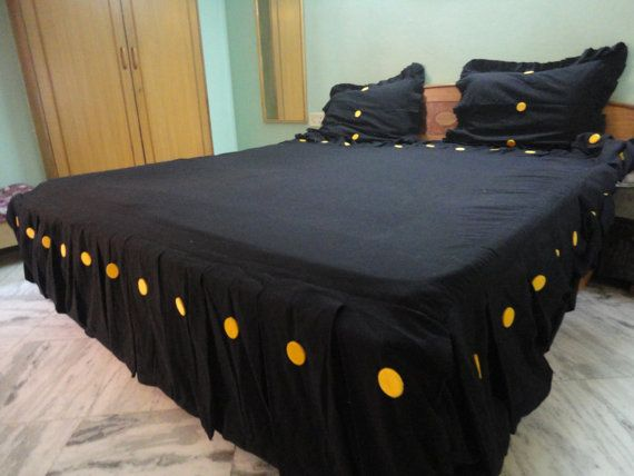 Custom Made Pleated Black Bed Skirt Eastern King By Pamposh Etsy