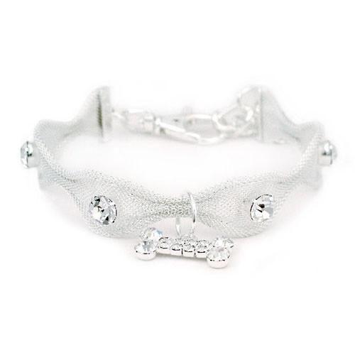 Scallop Mesh Clear Crystal Bone Drop Dog Necklace – Bark Label