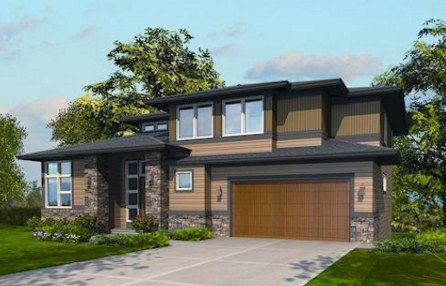 Plano de casa moderna de dos pisos con cochera triple for Casas modernas normales