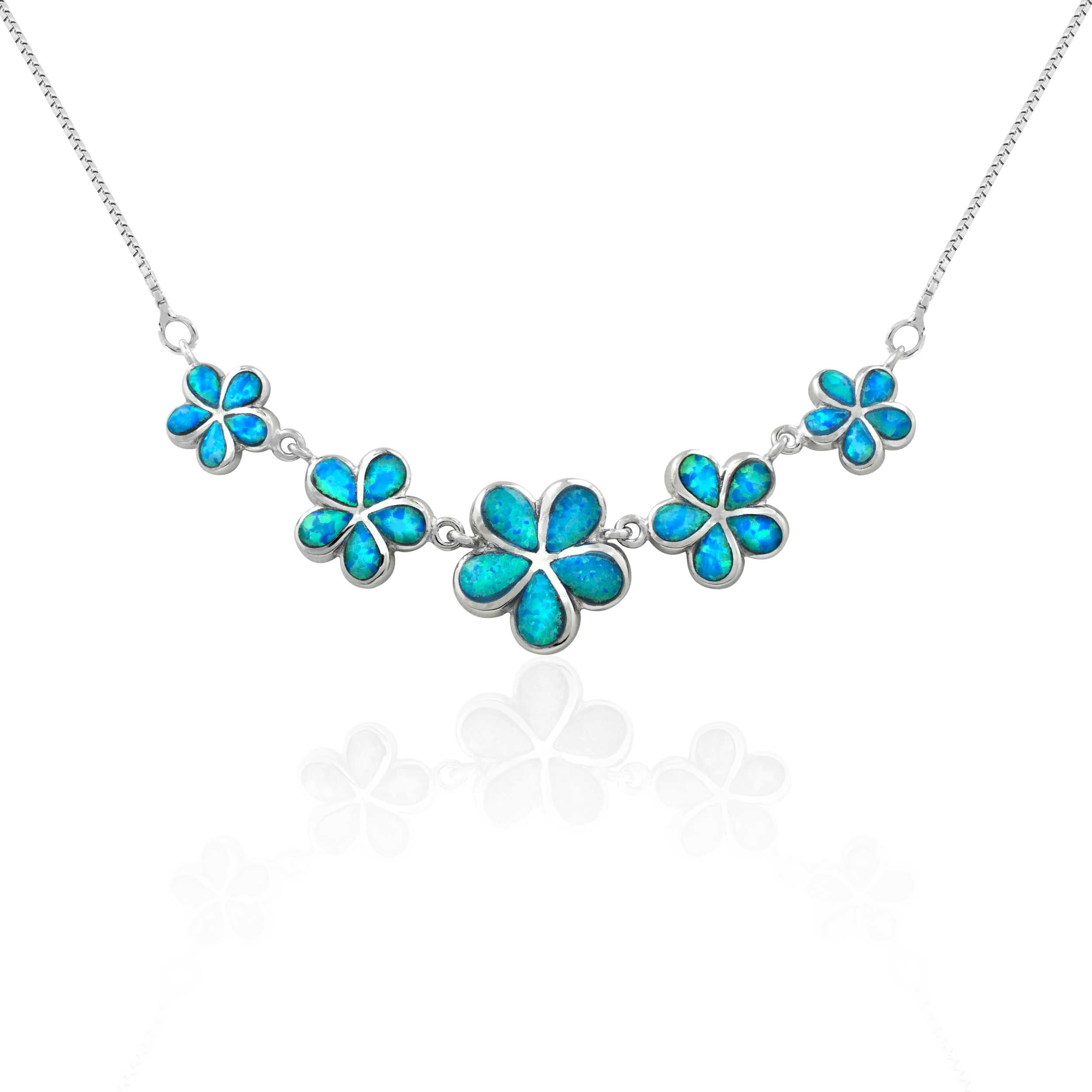 Sterling Silver Five Plumeria Flower Necklace With Blue Opal