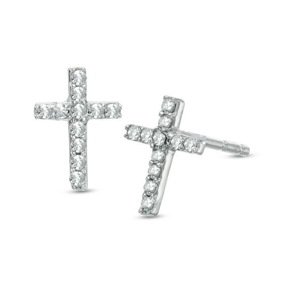 Mini Cross Round Brilliant-Cut Diamond Cross Stud Earrings in 10k Yellow Gold