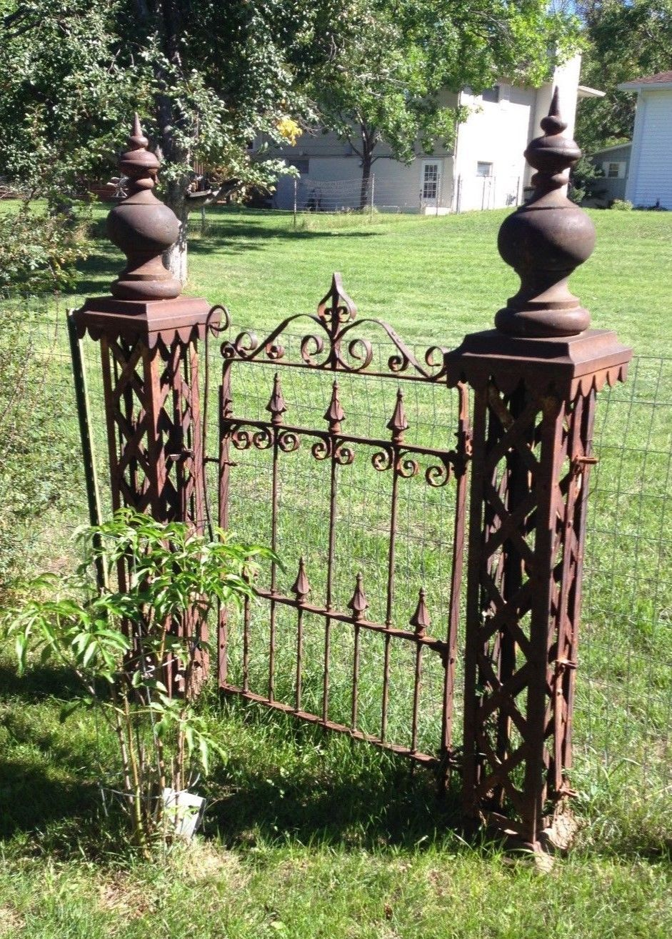 Antique Wrought Iron Fence 5 Posts And Gate Ornate Architectural