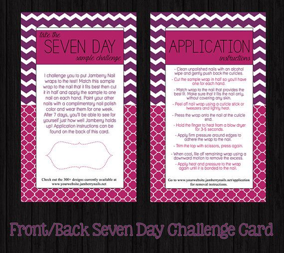 Custom Printable Seven 7 Day Sample Challenge Business Cards #2 For