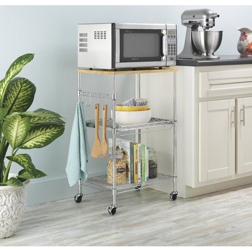 Kuhnhenn Kitchen Cart With Wood Top Microwave Cart Microwave In
