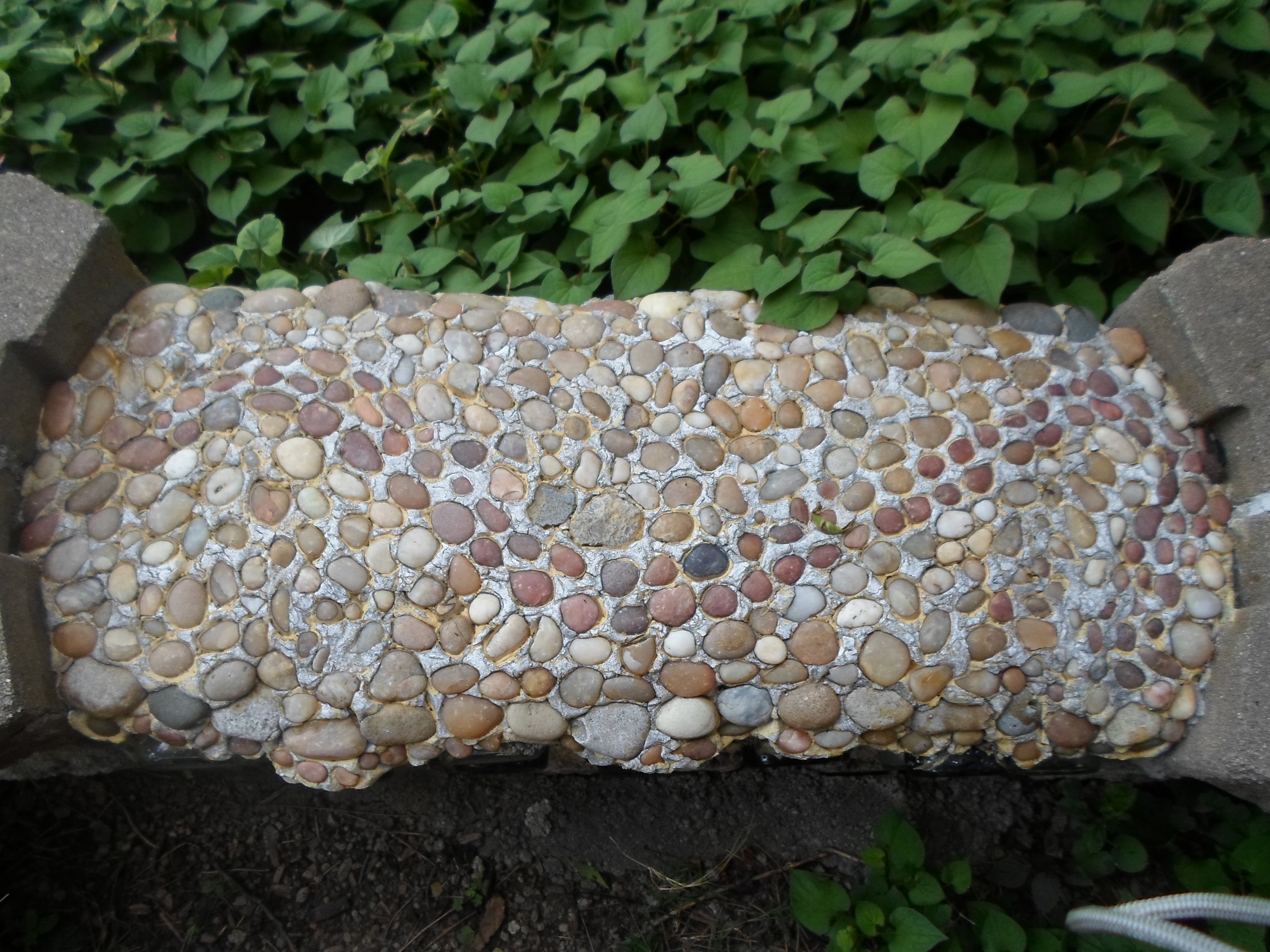 pebble mosaic on the bench seat