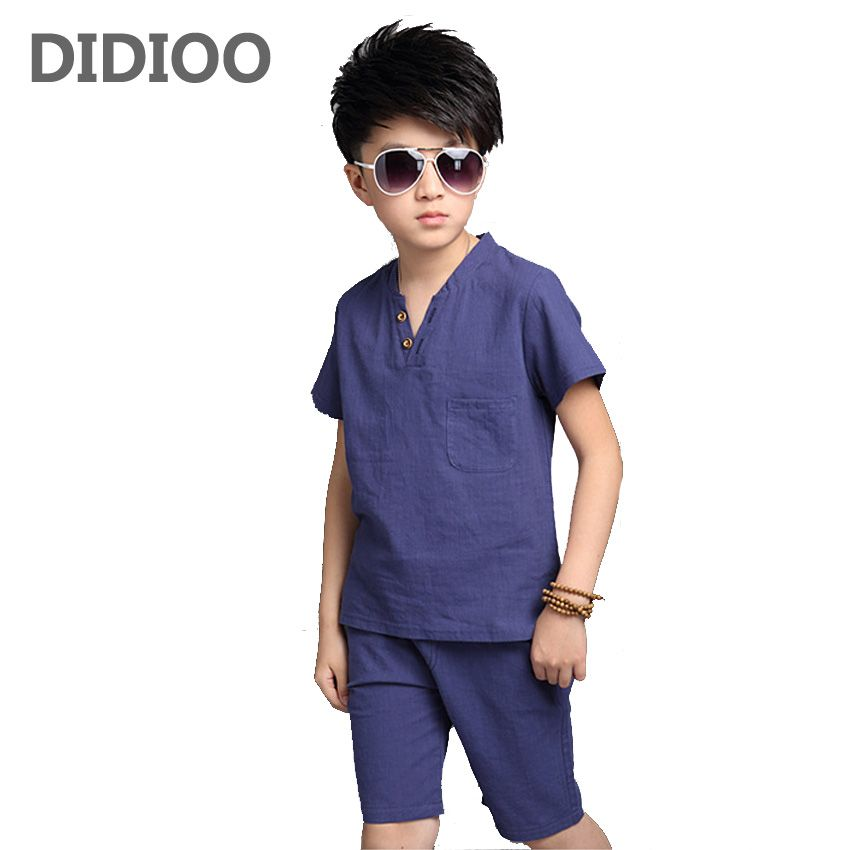 Teenage Boys Outfits Cotton Linen Clothing Sets For Boys T-Shirts   Shorts  Summer Kids Clothes 4 6 8 10 12 13 14 Years Costumes  Affiliate f7d8ee6f960f