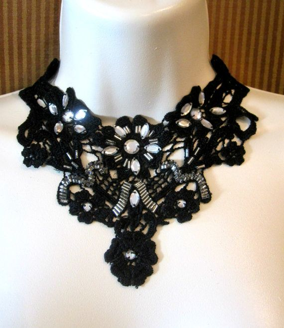 black lace choker black lace necklace statement by kareninadesigns, $24.00