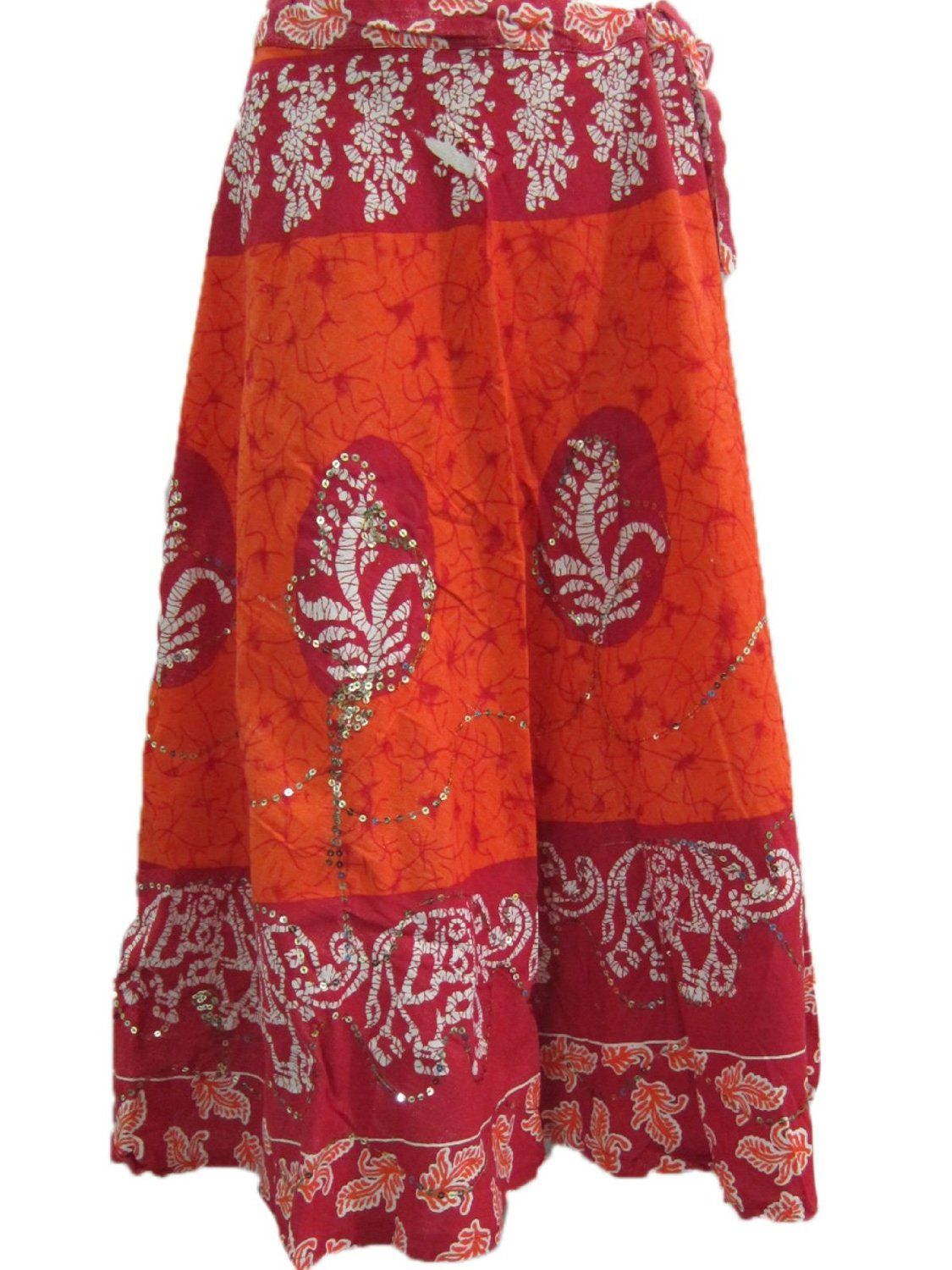 029c965f1c Amazon.com: Boho Gypsy Skirt for Her- Orange Peasant Skirt Womens Batik Cotton  Skirt, Summer: Clothing