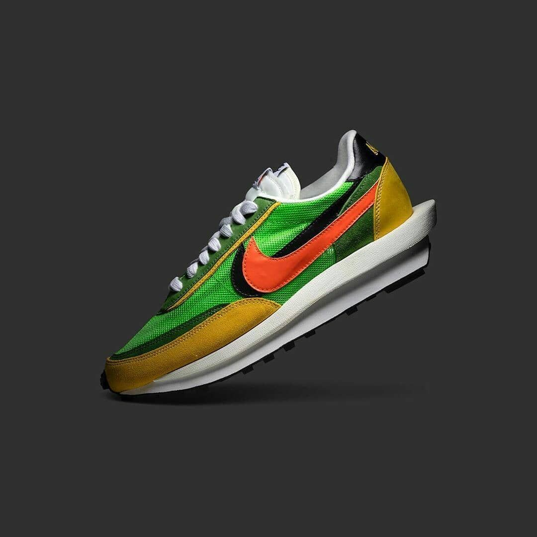 Sacai X Nike Ldv Waffle Daybreak Green Multi Bv0073 300 Light Green Yellow Orange In 2020 Sacai Nike Paris Fashion Week