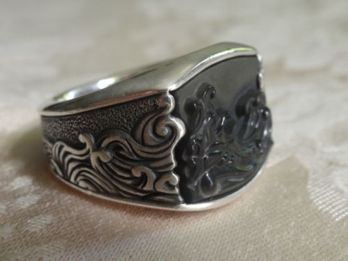 Unique-DAVID-YURMAN-Mens-Waves-3-Sided-Ring-Sterling-Silver-Black-Onyx-Size-9-5