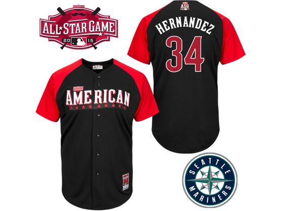 MLB 2015 All Star SEATTLE MARINERS #34 HERNANDEZ BLACK JERSEY