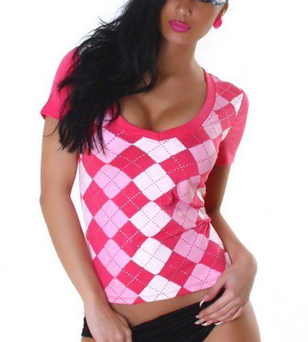 Jela London Damen Shirt Top Karo-Rauten V-Ausschnitt Größen 34-36 und 38-40 verschiedene Farben