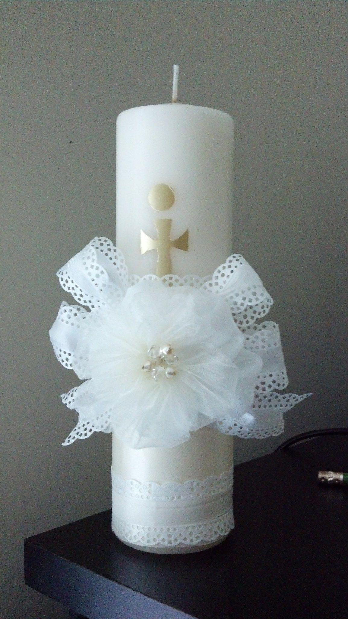 First communion candle candles pinterest comuni n - Velas decoradas para bautizo ...