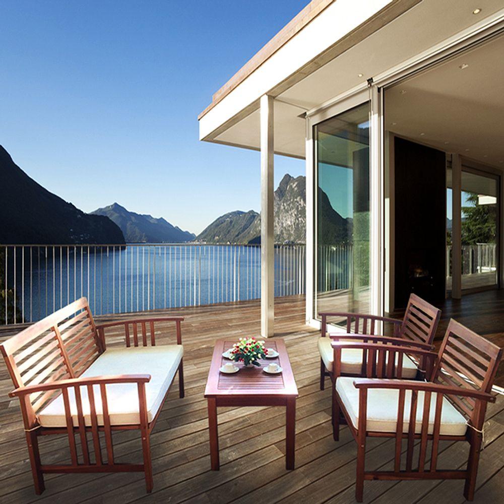Buy Luxo Bahamas 4 Piece Eucalyptus Outdoor Sofa Set Cream