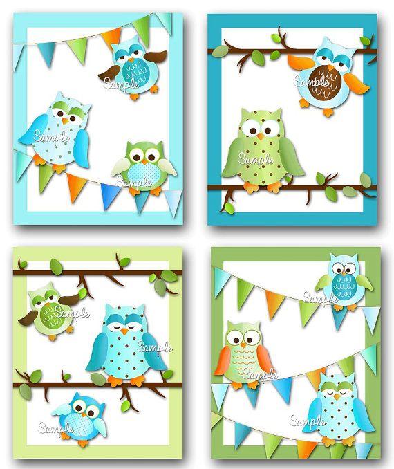 Set Of 4 Fun Boy Owl Girls Bedroom 8x10 Art Prints 4AP027