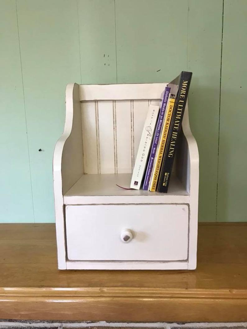 Recipe Card Holder Box And Cookbook Bookshelf One Drawer Etsy Cookbook Shelf Cookbook Storage Recipe Card Holders