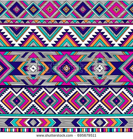 Multicolor Tribal Vector Seamless Pattern Aztec Fancy Abstract Geometric Art Print E Abstract Geometric Art Print Tribal Pattern Drawing Geometric Art Prints