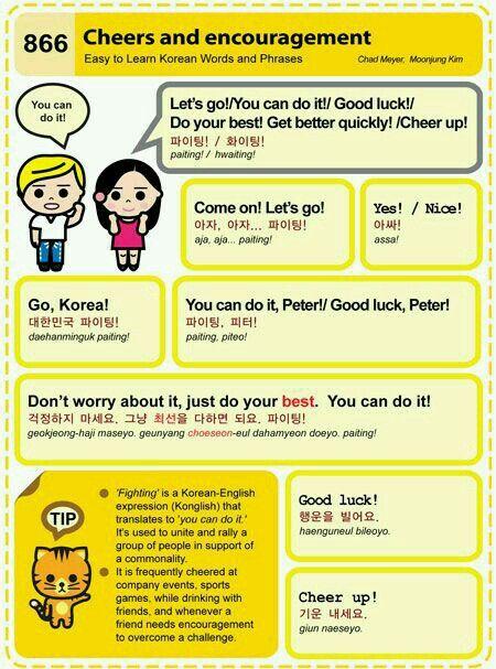 Cheers Encouragement In Korean Korean Words Learning Korean Words Learn Korean