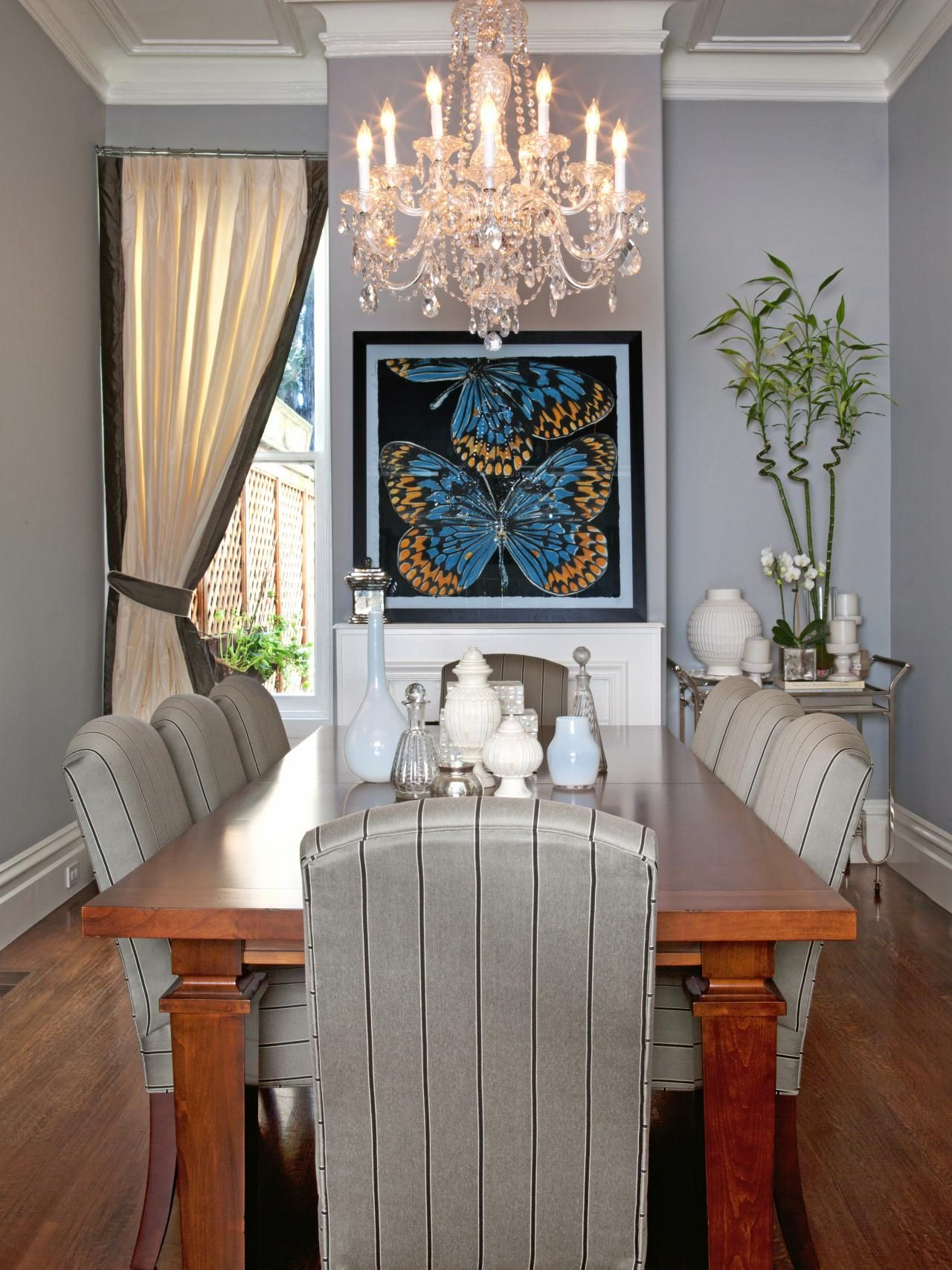 Transitional Gray Dining Room With Butterfly Art  Hgtv Custom Hgtv Dining Rooms 2018