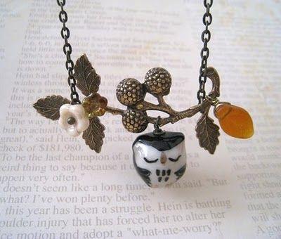 Clay Owl PEndant | owl necklace from: lunashineshine