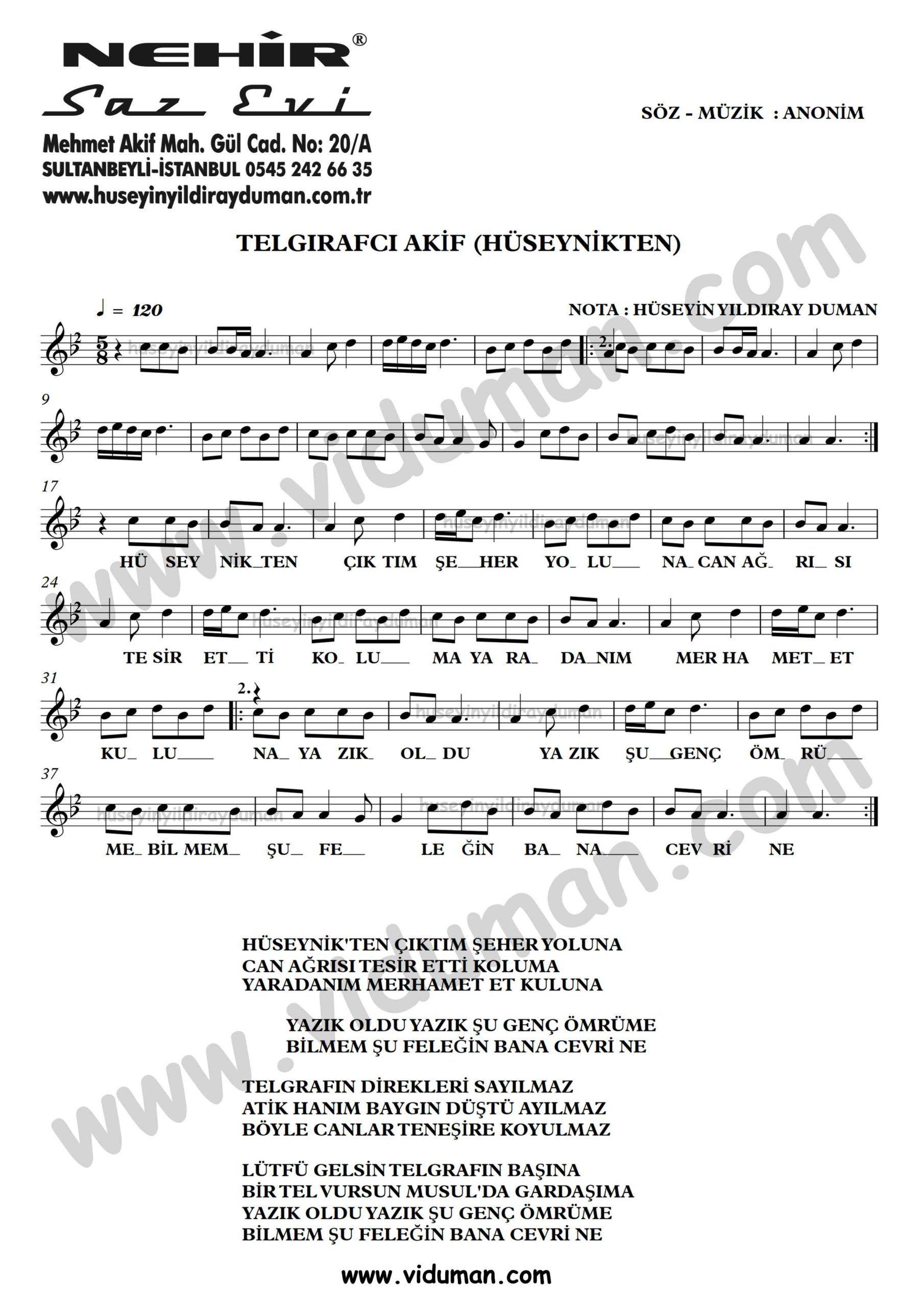 Telgrafci Akif Huseynik Ahmet Kaya Nota Baglama Saz Turku Notalari Muzik Notalari Muzik Calisma