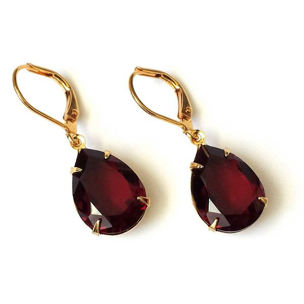 Garnet Crystal Drop Earrings Red Swarovski 23 Cad