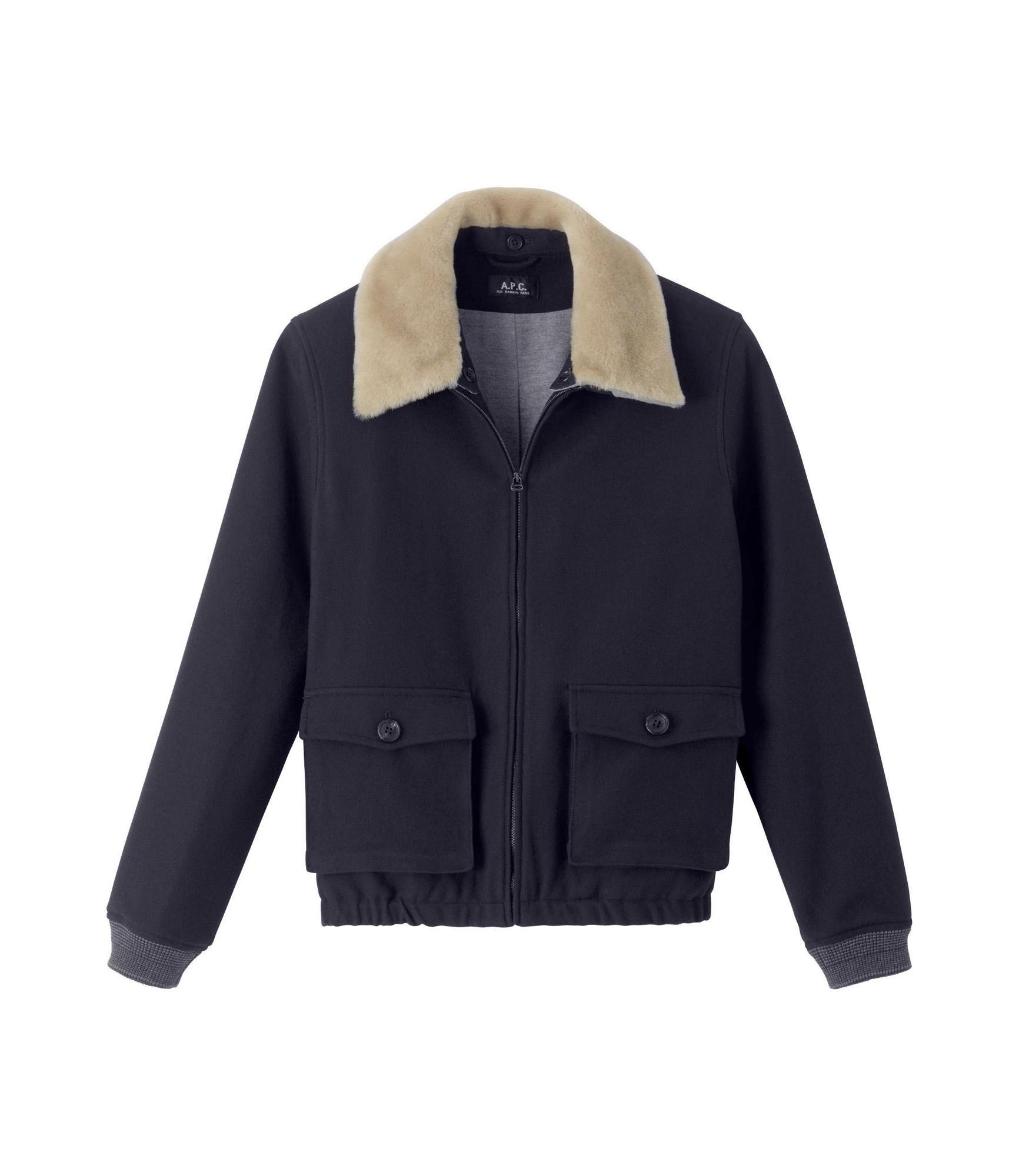 Felted Aviator Jacket Navy Blue A P C Men Mens Blazer Jacket Leather Jacket Black Casual Jacket [ 2000 x 1732 Pixel ]