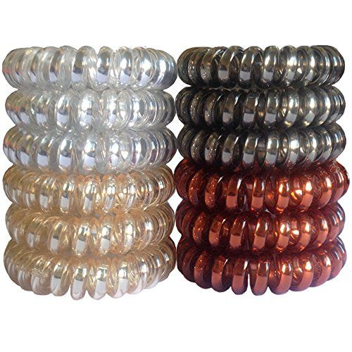 Elastic Hair Ties No Crease Spiral JMEE 12 PCS Clear Plastic No Damage Hair  Rubber Bands Neutral Colors     Learn more by visiting the image link. a0b4c27a51d