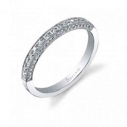 Classic Princess Milgrain Detail Wedding Band Engagement Ring Wedding Band Engagement Rings Wedding Bands