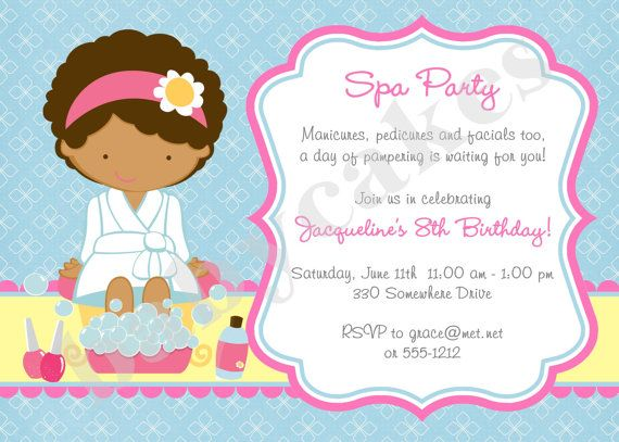 Spa Party Invitation Spa Birthday Party Invitation invite Spa