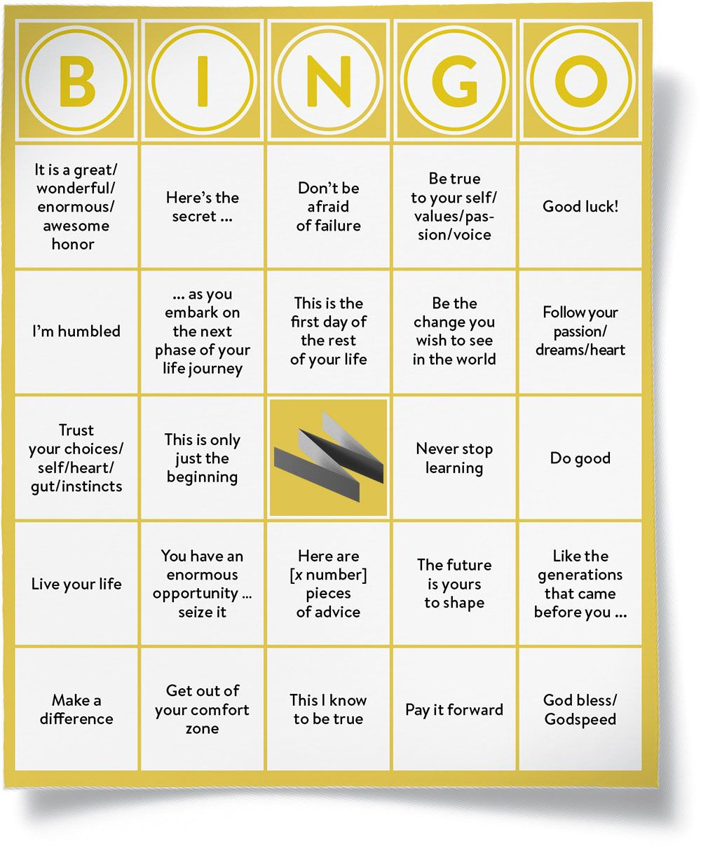 Graduations Are Way Less Awful With Commencement Speech Bingo