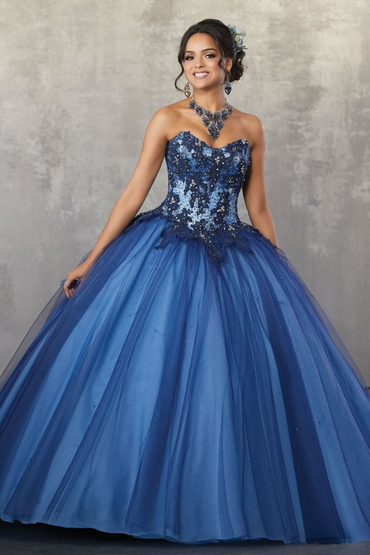 2d6dd7ac54a14 Satin and Tulle with intricate Embroidery and Beading Quinceanera Dress. Satin  Tulle with Embroidery and
