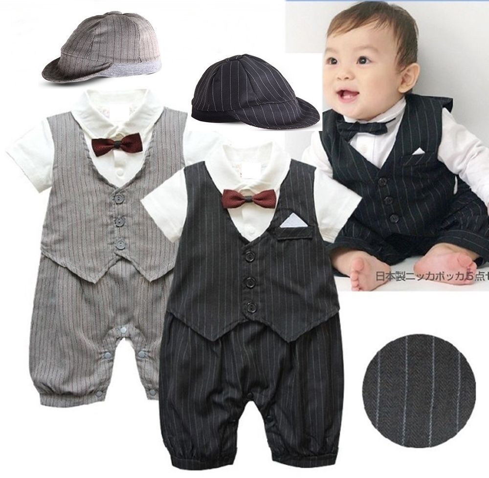 Baby Boy Wedding Formal Tuxedo Christening Suit One Piece Outfit Clothes 3-18M