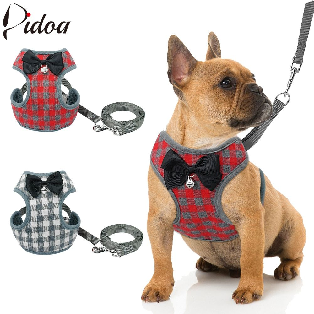Small Dog Harness And Leash Set Pet Cat Vest Harness With Bowknot
