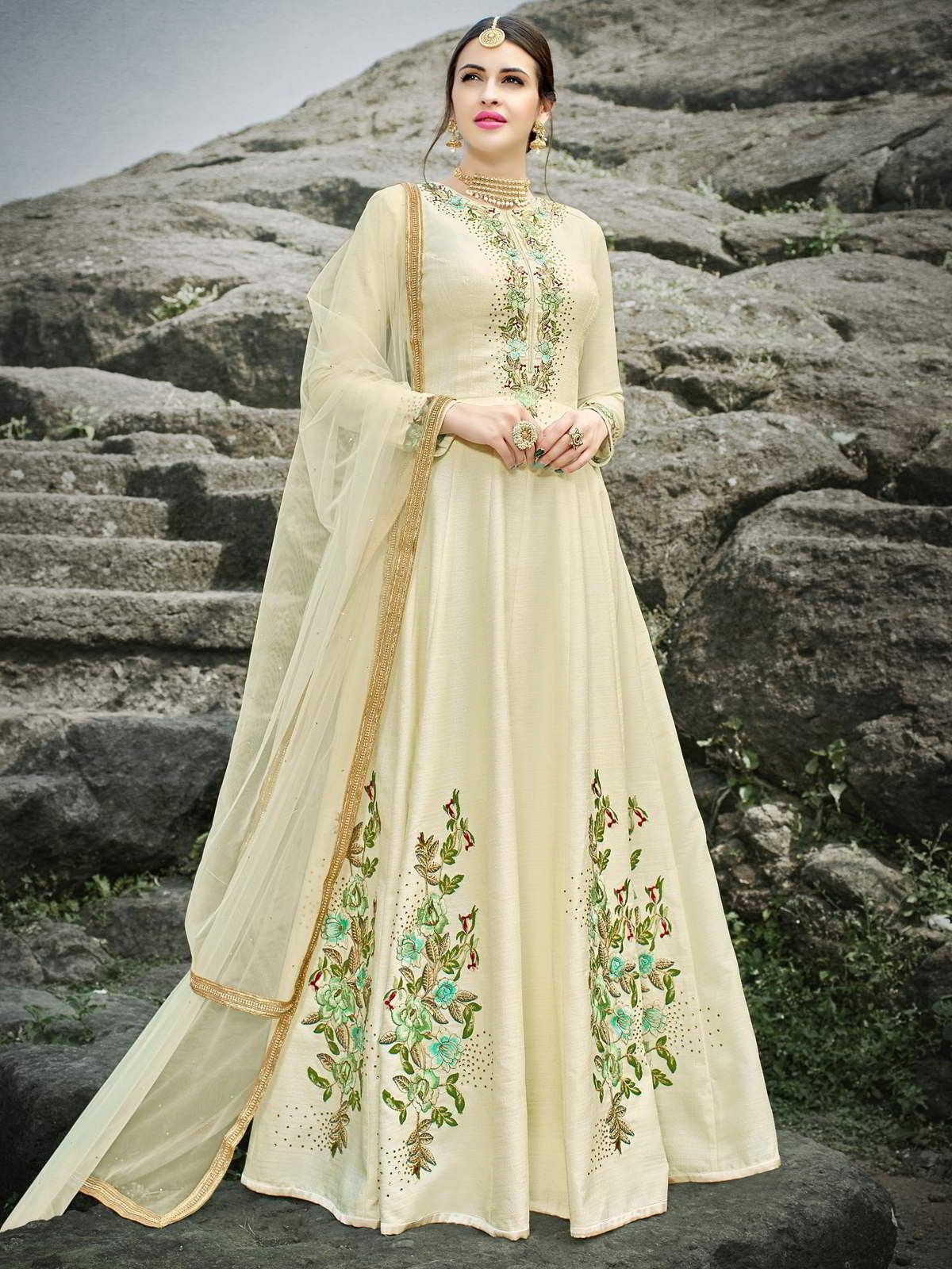 77a56fb06c Adorable off white partywear anarkali suit online which is crafted from  chennai silk fabric with exclusive embroidery work. This stunning designer  anarkali ...