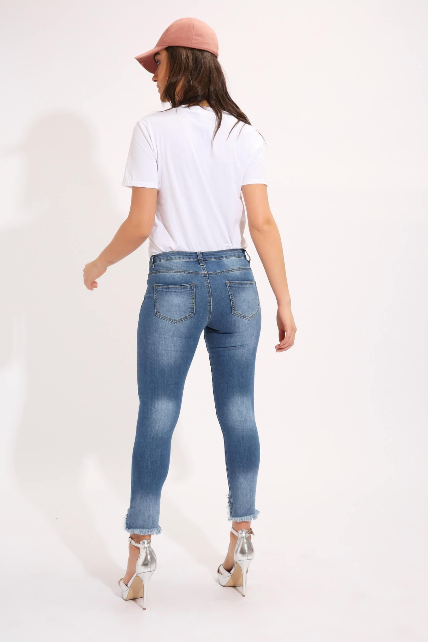 Mid Wash Cropped Distressed Pearl Effect Jeans