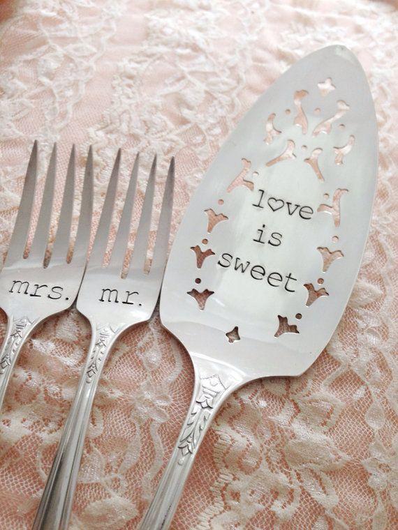 Mr. & Mrs. forks and cake server vintage wedding hand stamped by LoreleiVella, $60.00